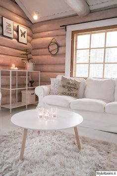 Log Wall, Pink Accents, Sweet Home, Cottage, Cozy, Cabin, Interior, Furniture, Home Decor