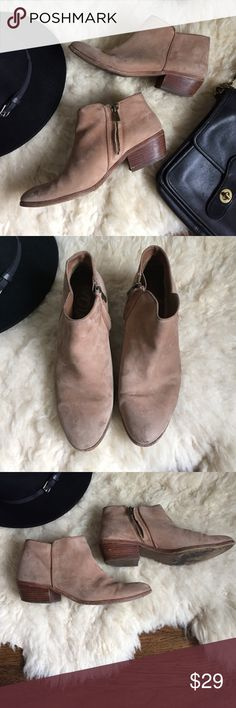 Sam Edelman Petty Suede Booties Worn these with ❤️! Moderate wear on soles (including heel see pic) and some toe scuffs and stains but so much life left in these guys. Most comfy shoes ever. Circus by Sam Edelman Shoes Ankle Boots & Booties