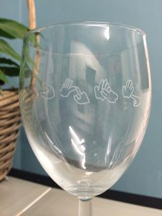 Sign Language Wine Glass by MEFTgifts on Etsy
