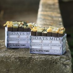 Can't decide which of our luxurious goats milk soap's to try?Try them all! Feed your skin with his sampler containing tiny bars of Mint & Mary, Field & Flower, Milk & Honey, Herb & Soil,Orange & Clove, and Sea & Foam. Each 1 ounce bar is wrapped individually and labeled with its name so you can decide which one is your favorite