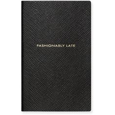 "Smythson ""Fashionably Late"" Panama Notebook (£57) ❤ liked on Polyvore featuring home, home decor, stationery and black"