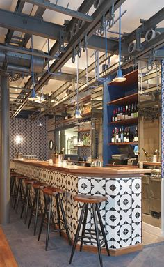 Fish Club restaurant by CHZON, really like the tiles on the bar Design Bar Restaurant, Deco Restaurant, Industrial Restaurant Design, Restaurant Restaurant, Café Bar, Cafe Design, House Design, Design Design, Burger Bar
