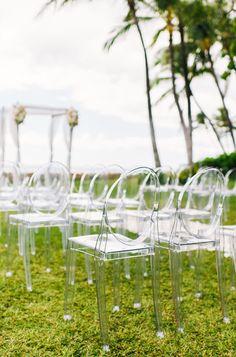 Modern Wedding Decor - Ghost Chairs - Outdoor OR Indoor Wedding   On SMP: http://www.StyleMePretty.com/destination-weddings/hawaii-weddings/2014/01/28/modern-vintage-oahu-wedding-at-lanikuhonua/ Photography: Christie Pham Photography