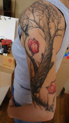 Oriental Painting Inspired Tattoo | Roberto | Art-Corpus, Paris ... turn into cherry blossom