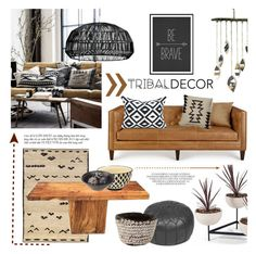 """""""Tribal Decor"""" by helenevlacho ❤ liked on Polyvore featuring interior, interiors, interior design, home, home decor, interior decorating, Oriental Weavers, Massoud, Rizzy Home and Ay Illuminate"""
