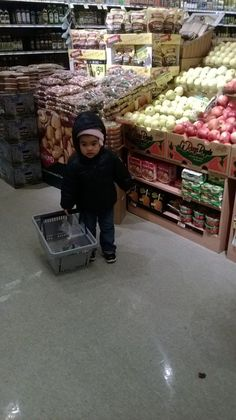 Grocery Shopping with My Toddler. Grocery shopping with my toddler has become more tolerable since I have engaged her more. It is actually fun. I even print out a grocery list for her with pictures so that she can help me remember what we are shopping for. She insists on holding the basket until it gets too heavy.