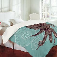 Valentina Ramos Octopus Bloom Duvet Cover from Deny Designs. Shop more products from Deny Designs on Wanelo. Modern House Design, Modern Interior Design, Home Design, Interior Architecture, Kraken, My New Room, My Room, Ocean Room, Beach Room