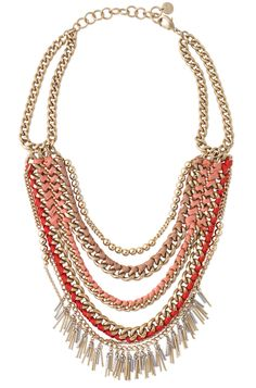 Pink, Coral & Gold Multi-Layered Bib Necklace | Carmen Necklace | Stella & Dot