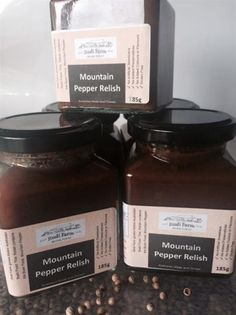 Jindi Farm Mountain Pepper Relish (185g)  Ingredients: Tomato, Onion, Vinegar, Sugar, Curry, Mustard, Corn Flour, Mountain Pepper Leaf.   A traditional tomato and onion based relish with a touch of Australian Mountain Pepper Berry leaf to enhance flavour. $10.00