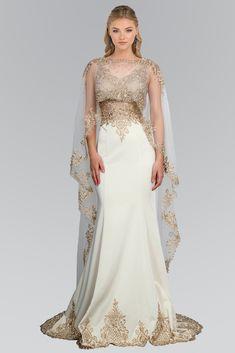 Elizabeth K GL1596 Satin V-Neck Dress with Cape in Champagne | Soho Girl