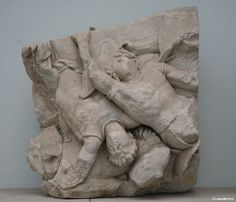 Two Scythian warriors fall in the battle Pergamon Museun The Telephos Frieze