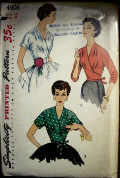 Simplicity 4906 Warp-Around V-Neck Blouse Pattern 2 Style Sleeves 1954 sld Simplicity Sewing Patterns, Vintage Patterns, Vintage Knitting, Vintage Sewing, V Neck Blouse, Wrap Blouse, 20th Century Fashion, Antique Clothing, Vintage Boutique