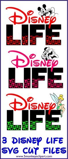 Disney Life SVG Cutting files for Silhouette Cameo, Cricut Explore, Sure cuts a lot or other personal cutting machines. ---------------------------------- Make your Disney Vacation shirts. Mickey mouse svg, minnie mouse svg and tinkerbell svg included. Disney cut files. http://www.5monkeysclipart.com/store/p224/DisneyLifeSVG