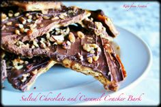 Salted chocolate and caramel cracker bark