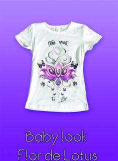 Camiseta Baby Long 100% algodão, em malha estonada ou quality, modelagem especial mais acinturada e comprida e impressão direta sobre o tecido, garantindo conforto e caimento perfeito. Ah, não desbota nem encolhe! #tshirt #ahart #design #lotus #flor #flower #butterfly #ohm #camiseta #menina #mulher #art #pink #tees