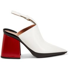 MARNI  Leather mules ($470) ❤ liked on Polyvore featuring shoes, white slingback shoes, high heel mule shoes, leather mules, slingback shoes and red slingback shoes
