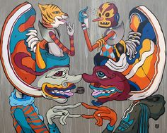 Indieguerillas created these cross cultural paintings of the Indonesian Wayang puppets and blended them with bikinis, pop art, Japanese ukiyo'e, marionettes, Nike trainers and other westernised icons. Indonesian Art, Cool Pops, Shadow Puppets, Visual Development, Creative Inspiration, Design Inspiration, Asian Art, Impressionist, Art Inspo