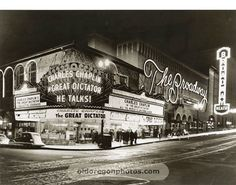 Broadway Theater, Portland, Oregon - 1940.  I miss this bright monstrosity.