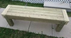 The easy to build DIY wooden patio bench is as sturdy as a rock Diy Garden Furniture, Diy Outdoor Furniture, Outdoor Decor, Outdoor Living, Wooden Patios, Wooden Benches, Building A Patio, Building Plans, Wood Steps