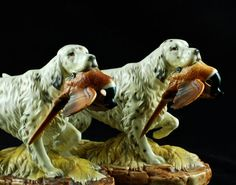 Large Vintage Pair of English Setter Hunting Dog by BirneyCreek, $125.00