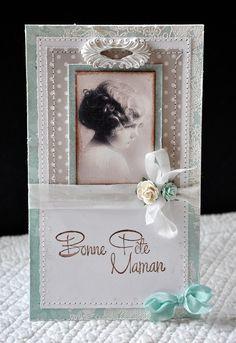 Carte Bonne Fête Maman, romantique et rétro - 10.5 cm x 18 cm : Cartes par pascale-b