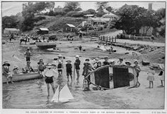 Auckland War Memorial Museum - Ashe,-T.-The-simple-pleasures-of-childhood-:-a-Christmas-holiday-scene-on-the-Manukau-Harbour,-at-Onehunga Nz History, Bay News, Auckland New Zealand, Memorial Museum, Science And Nature, Trivia, Old Photos, Past, Photo Galleries