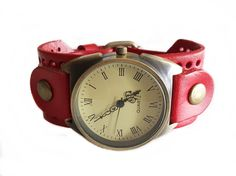 Wrist Watch Real Leather Bracelet: darkred by TankGirlShop Dark Red, Real Leather, Quartz, Watches, Trending Outfits, Unique Jewelry, Bracelets, Handmade Gifts, Accessories