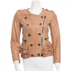 evaChic| Camel 3.1 Phillip Lim leather pleated jacket with zip closure at front. http://www.evachic.com/product/3-1-phillip-lim-leather-jacket-w-tags/