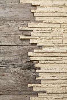 Two different kind of material. Wood and stone.