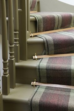 Natural wood on tartan - wow! Love a bit of tartan warmth homeliness and colour ! Tudor stair rods from Carpetrunners Tartan Carpet, Stair Rods, Painted Stairs, Carpet Stairs, Colour Schemes, Interior Inspiration, Decoration, Stairways, New Homes