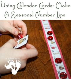 Using Calendar Cards: Making a Seasonal Number Line: Plus hands on activities with the number line - 3Dinosaurs.com