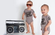 This is really cute. lettuce turnip the beet - organic cotton - grey onesie. $25.00, via Etsy.