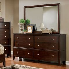 Furniture of America Kami Transitional 2-piece Brown Cherry Dresser and Mirror Set (Brown Cherry), Size 6-drawer