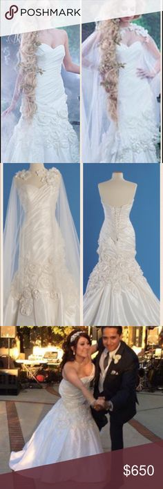 💍Wedding dress💍 Note last pic which has information about the dress's material and design. Diamond white Alfred Angelo wedding gown which I absolutely loved; it is fitted in the right areas and even though I had a garden wedding in August it was super comfortable. Lace up back was a plus and the train was gorgeous. It comes with a whimsical and light cape which I used for pics. DRY CLEANED right after wedding in GREAT condition. Ask any ?s more pics on second post. Alfred Angelo Dresses…