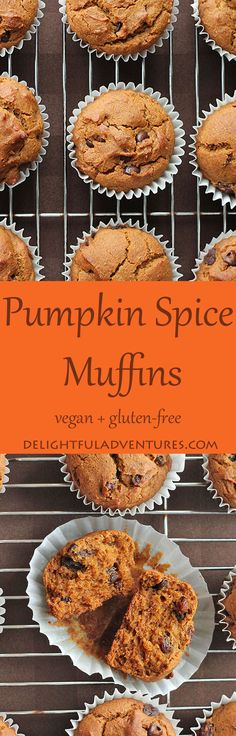These vegan, gluten-free pumpkin spice muffins are so easy to make and so delicious, you'll want to make them year-roundnot just during the fall. Gluten Free Pumpkin, Gluten Free Baking, Pumpkin Recipes, Fall Recipes, Vegan Muffins Gluten Free, Egg Free Muffins, Dinner Recipes, Vegan Sweets, Vegan Desserts