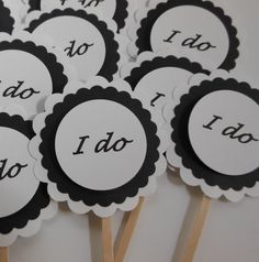 I Do Cupcake Toppers - Black and White - Engagement Party Decorations - Bridal Shower Decorations - Wedding Decorations - Set of 12 by Whimsiesbykaren on Etsy https://www.etsy.com/listing/109017930/i-do-cupcake-toppers-black-and-white