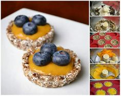 Tartaletas de dátiles, coco y mango Light Desserts, Raw Desserts, Gluten Free Desserts, Healthy Dessert Options, Healthy Sweets, Vegan Foods, Vegan Dishes, Recetas Scd, Raw Food Recipes