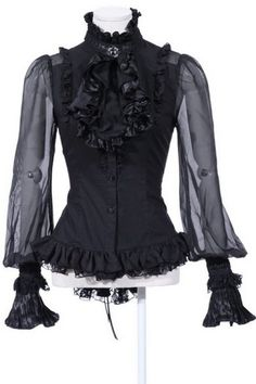 Lanntern gothic blouseby RQBL is made from stretch black cotton with spotted chiffon sleeves. £29.63