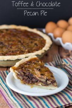 Toffee Chocolate Pecan Pie | crazyforcrust.com