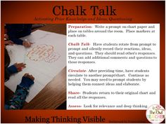 Chalk Talk is one of many Thinking Routines for making students' thinking visible- hands on ideas! Read this blog post to learn more ideas!