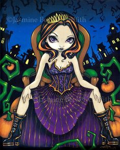 Queen of Halloween - a cute goth girl with a crown, sitting on a fancy throne in…