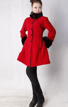 Red Woolen Winter Coat