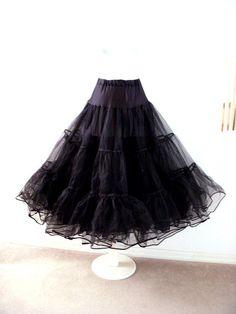 Vintage Long Black Crinoline - Black Netting Petticoat - Bombshell Pin Up - Super Full Black Layered Crinoline Half Slip - Size Medium