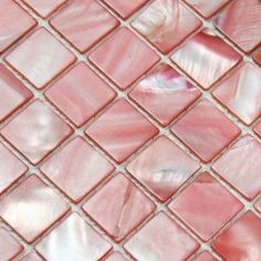 Pink Mother of Pearl Tile Squares Per Sheet, Stained Shell Mos. Pink Mother of Pearl Tile Squares Per Sheet, Stained Shell Mosaic Backsplash Kitchen Wall Tiles, Kitchen Backsplash, Kitchen Mosaic, Backsplash Ideas, Pink Kitchen Walls, Pink Kitchen Decor, Red Kitchen, Pink Tiles, Pink Bathroom Tiles
