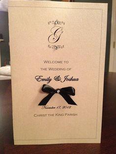 Wedding Ceremony Program Monogrammed with Ribbon Bow. $1.75, via Etsy.