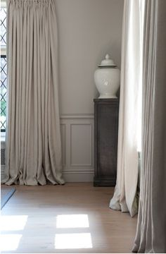 Elegant plain linen curtains, Sims Hilditch
