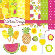 """Fresh fruit colorful set, perfect for your craft project, scrapbooking, invitations, party, etc.  Set contains 12 graphics 3""""-4"""" height all  in high rezolution JPEG and PNG (transparent), and EPS version 8, and 7 digital papers 12x12"""" in JPEG 300 dpi."""