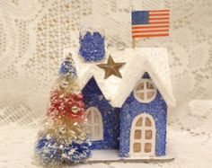 Small Scale Americana * Patriotic Inspiration * Red, White & Blue Flocked Bottle Brush Tree w/ Blue Putz Glitter House Display *  DIY Inspiration * 4th of July FAB!