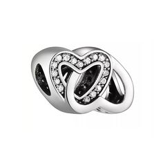 b04cd4149 Linked Hearts Charm Bead with CZ, 925 Sterling Silver, fits Pandora  Bracelets or Any Chain