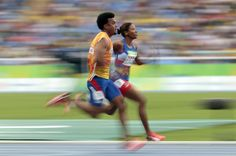(L-R) Yuniol Kindelan and Omara Durand of Cuba in action during the Women's 100m - T12 Semifinals at the Olympic Stadium on Day 2 of the Rio 2016 Paralympic Games on September 9, 2016 in Rio de Janeiro, Brazil.